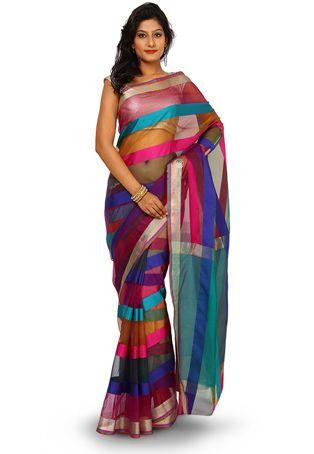 Woven Art Silk Saree in Multicolor