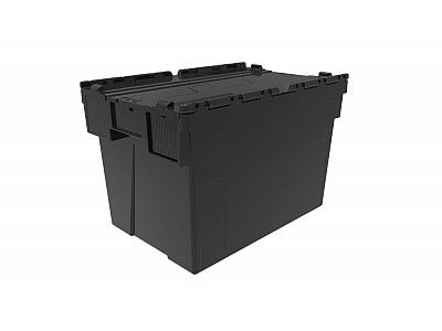 77 Litre Super Strong Recycled Attached Lid Container - Lidded Plastic Storage Box