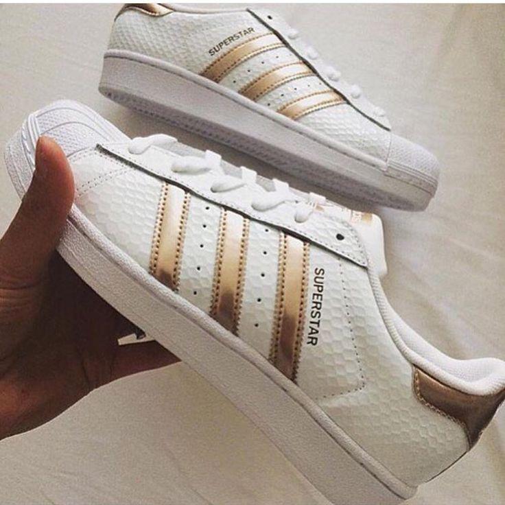 adidas superstar blancas y bronce