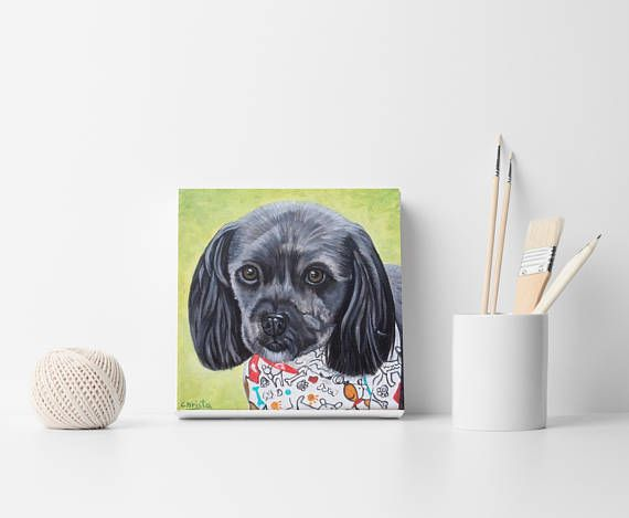 Custom Portrait Hand Painted Pet Portrait Painting from your
