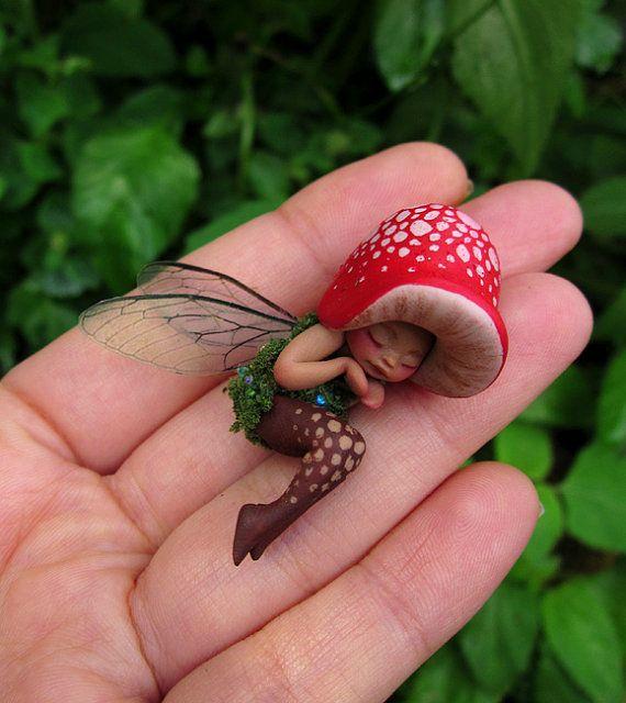 Tiny Sleeping Woodland Mushroom Fairy by Celia Anne Harris