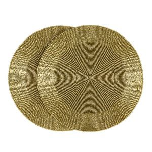Set of 2 round beaded placemats gold lauraashley navidad - Laura ashley barcelona ...