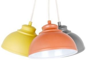 NORDIC-Yellow-Orange-Grey-Metal-3-Cluster-Ceiling-Light-Pendant-Galley-Shade-NEW