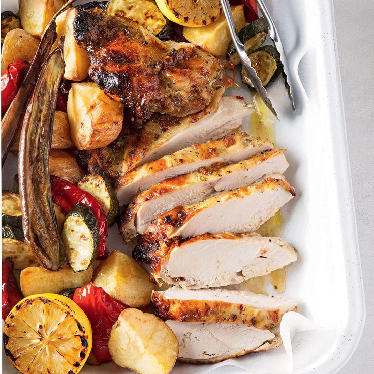 Greek Style Chicken Roast with Veggies #Dinner #Chicken #Roast #Greek #Vegetables