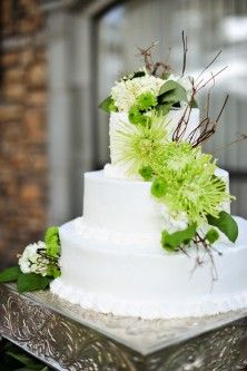 Lime Green Wedding Cake - maybe do blue trim instead of white