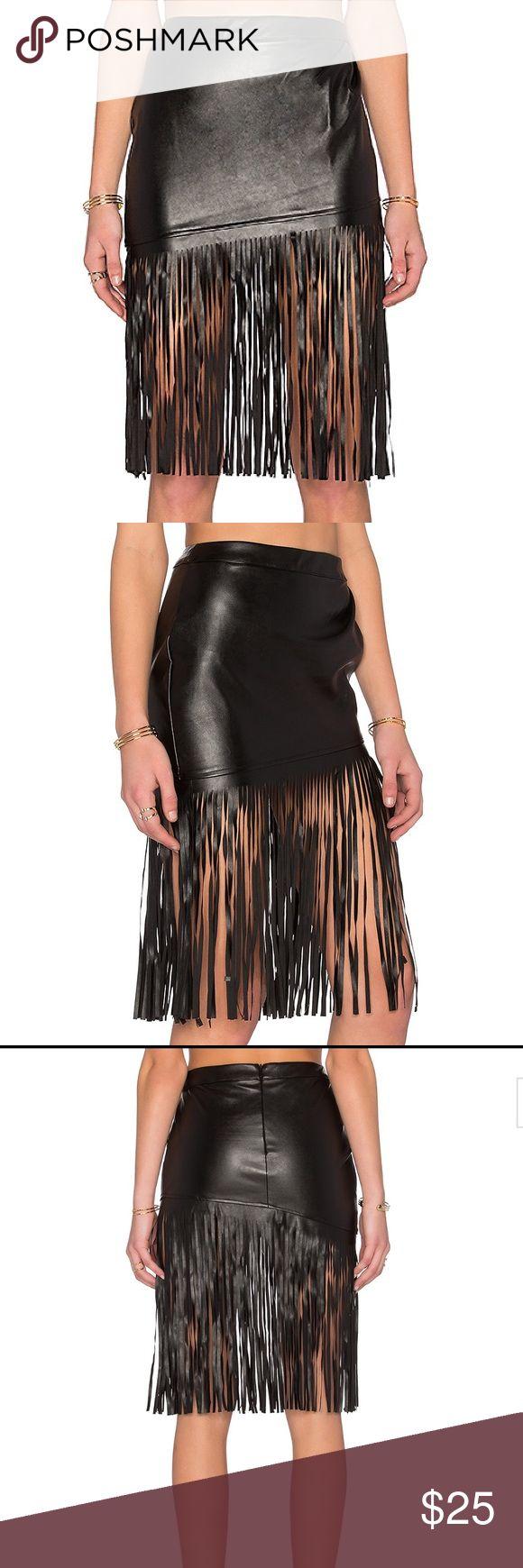 """Angled Leatherette Midi Skirt - Toby Heart Ginger Pleat detail, skirt approx 13"""" in length, fringe approx 25"""" in length, hidden back zipper, 100% poly, WORN ONCE & CURRENTLY OUT OF STOCK Skirts Midi"""
