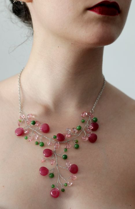 Colier Cherry Branch - agate / jad / cuart cherry de TulipsHM