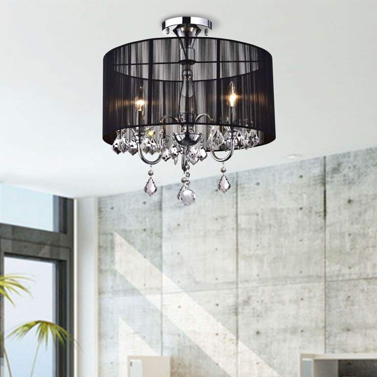 and Chrome Semi Flush Mount Crystal Chandelier