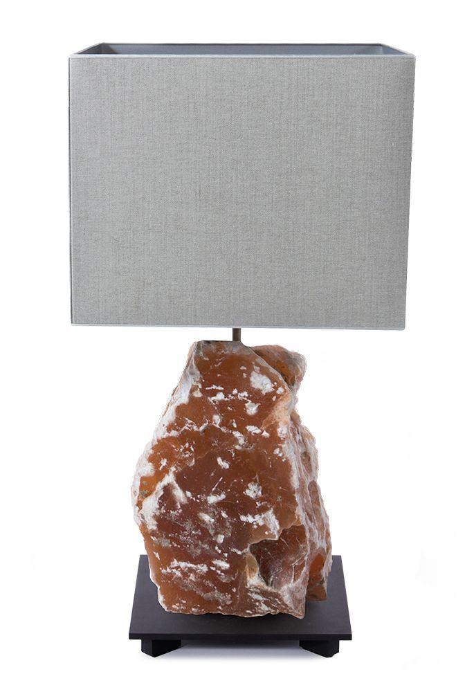 Table Lamp, SELENITE LAMP NECTAR, Selenite Massive Nectar, Black Powder  Coated Frame, Led Lighting With Shade.