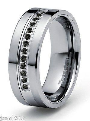 8mm 0.21ct Black Diamond Tungsten Modern Men's Wedding Ring Band Engagement