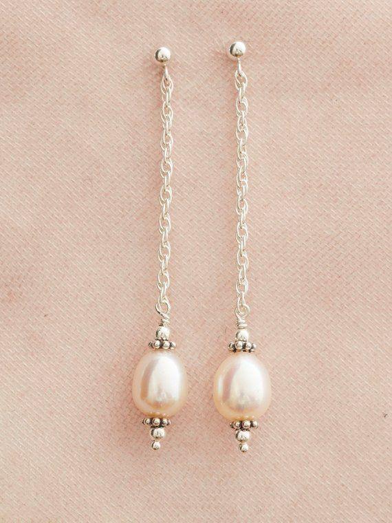 65b992d38b869 Silver Pearl Drop Earrings - Bride Earrings - Bridal Pearl Earrings ...