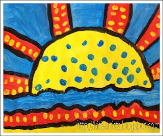 Sunrise in the style of Roy Lichtenstein: In Style, Style, Kids Artists, Famous Artists, Art Ideas, Sunri, Art Projects, Roy Lichtenstein, Drawing And