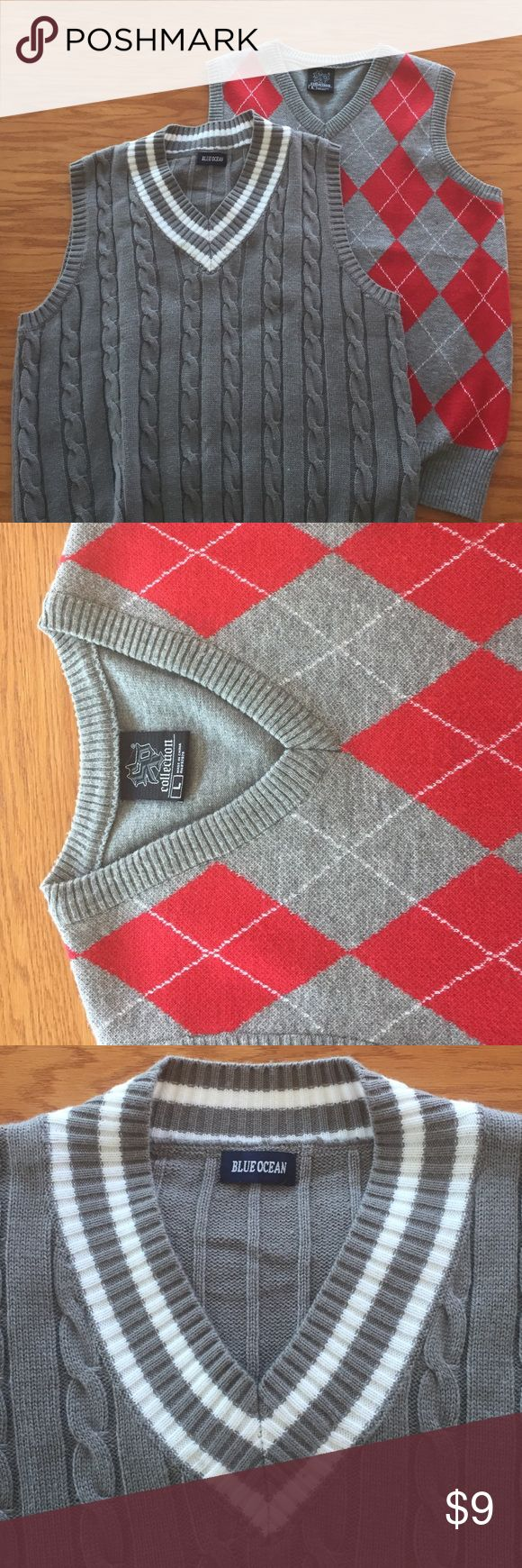 MEN SWEATER VEST There are two sweater vests. They both are in great condition and very comfortable. Both gray except one has white stripes on it and the other has a red pattern on it. Unlisted Sweaters V-Neck