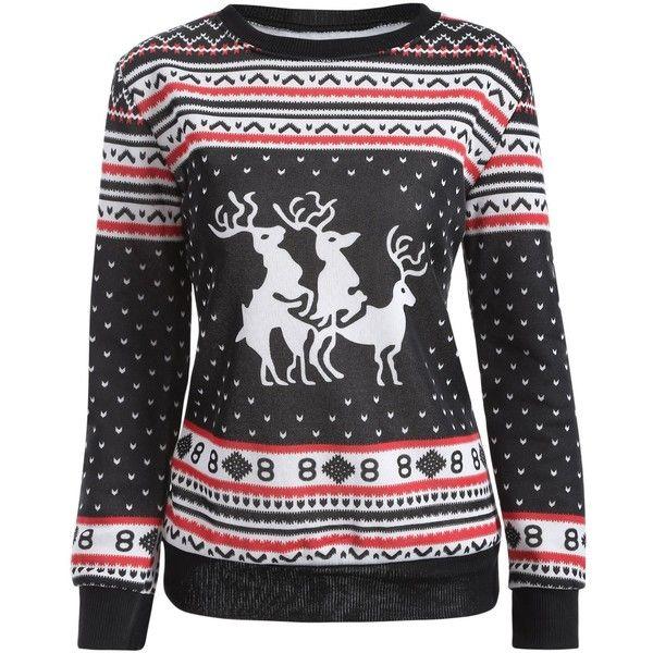 Christmas Deer Print Pullover Sweatshirt ($8.73) ❤ liked on Polyvore featuring tops, hoodies, sweatshirts, deer sweatshirt, christmas tops, sweater pullover, christmas sweatshirts and pullover sweatshirt