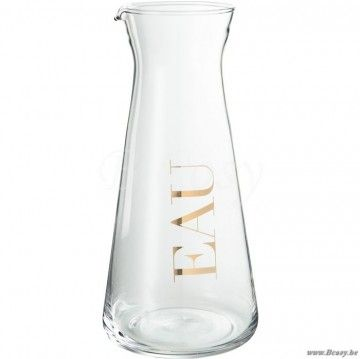 J-Line Glazen karaf eau in transparant glas en goud 25h