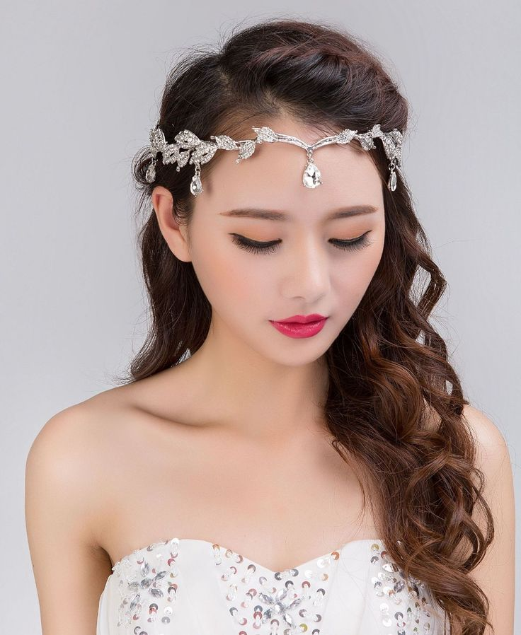 New Crystal Bridal Headbands Wedding Rhinestone Waterdrop Leaf Tiara Crown Headband Frontlet Bridesmaid Hair Jewelry