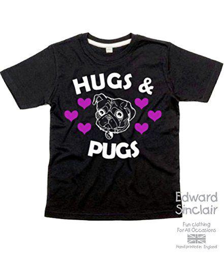 Edward Sinclair Hugs & pugs - Black Cotton T-shirt In Size 5-6 Years. With a White & Pink Glitter Print. Edward Sinclair http://www.amazon.co.uk/dp/B0123OPKAA/ref=cm_sw_r_pi_dp_hQFRvb1DDE53A