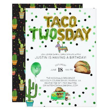 Taco TWOsday Birthday Invitation - birthday cards invitations party diy personalize customize celebration