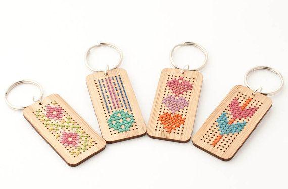DIY Cross Stitch Key Fob Kit Bamboo Rectangle by RedGateStitchery