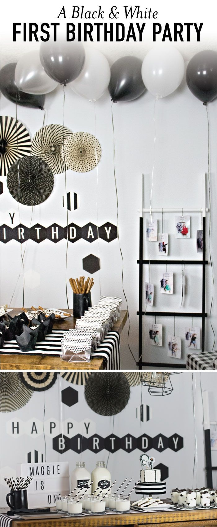 Black And White Birthday Party With Images Boys First Birthday