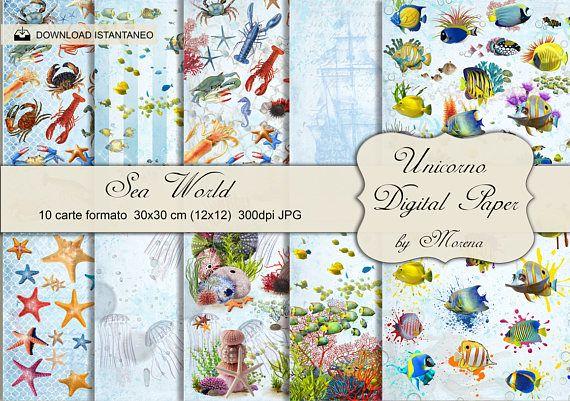 SCRAPBOOK MARE PESCI Carta digitale Pesci Tropicali