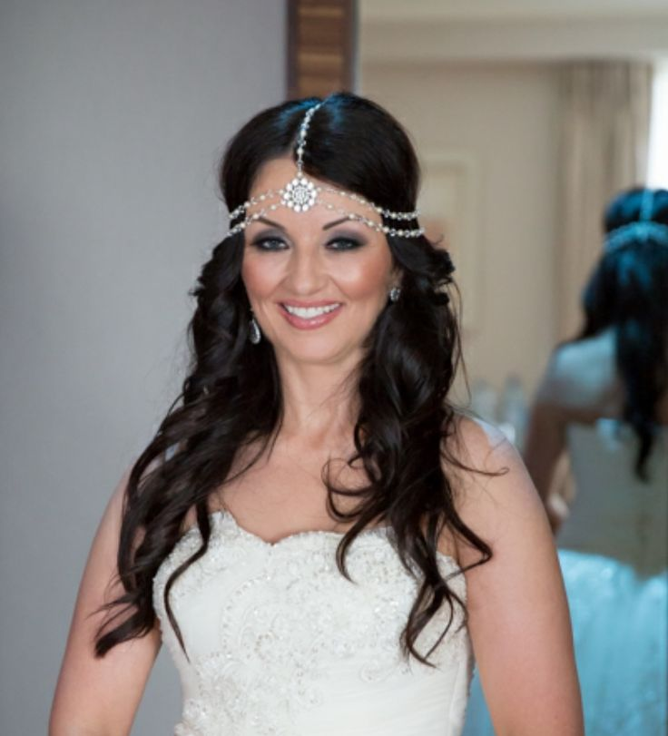 Real bride Irene wears a custom made version of our Suzie Headpiece  http://www.julesbridaljewellery.com/products/boho-style-draping-hair-pearls-and-rhinestones-suzie