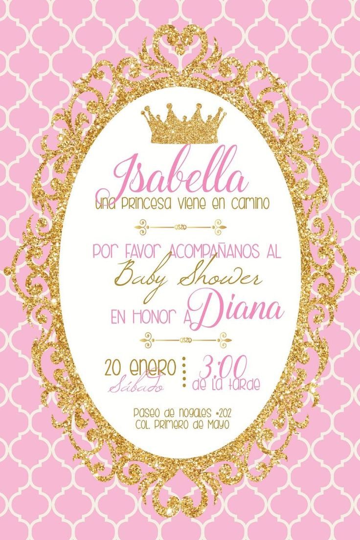 Invitacion Imprimible Personalizable Babyshower Princesa - $ 109.00 en MercadoLibre