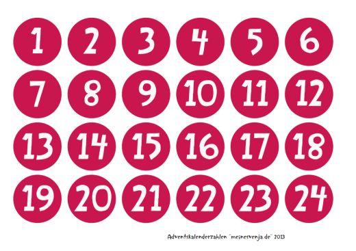 Adventskalender Zahlen - kostenloser Download. Advent calendar numbers - free printable.