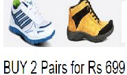 BUY 2 Pairs of Shoes of Rs 499 each for Rs 699+Rs 98 Shipping