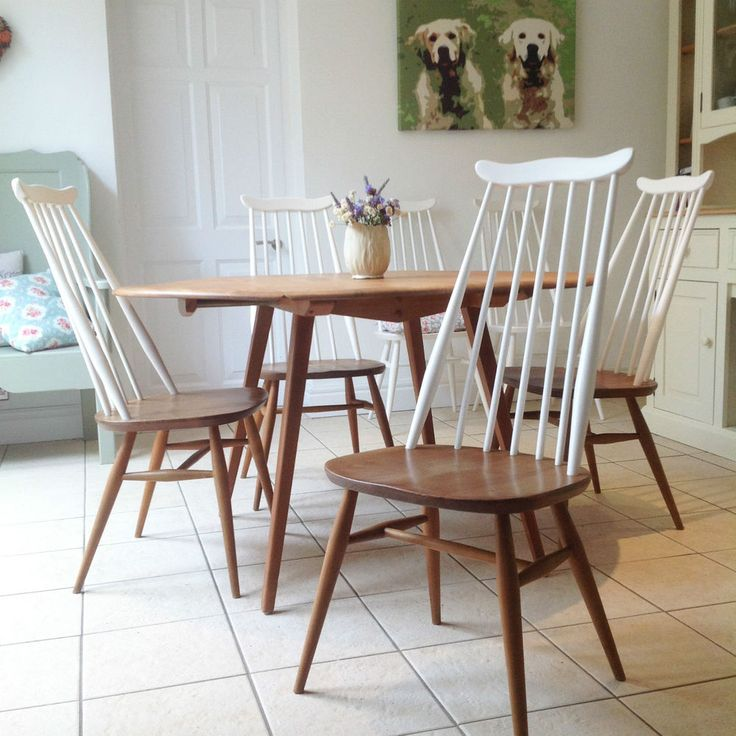 ERCOL TABLE AND CHAIRS, ERCOL ELM TABLE, 6 ERCOL CHAIRS, 1960 DINING ROOM CAFE