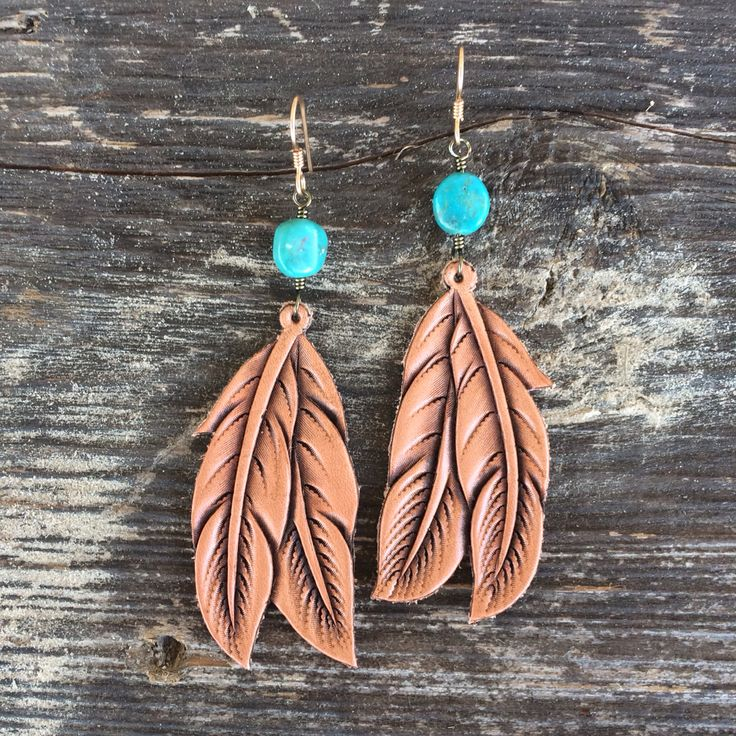 J.Forks Hand Tooled Leather Feather and American Turquoise Earrings!!