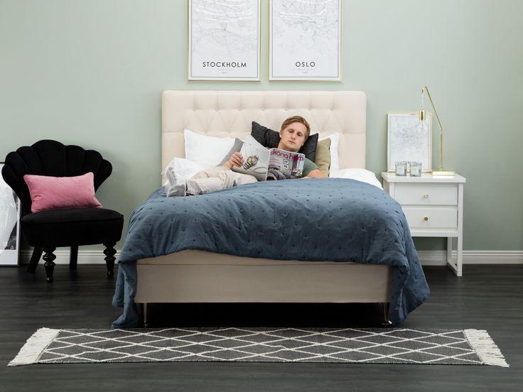 Ease 140 Kontinentalsäng Beige Inklusive Sänggavel I Tyg Våra Sovrumsmöbler Pinterest