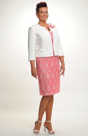 Velmi sofistikovaný, elegantní dámský komplet, šaty s kabátkem