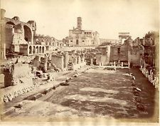Albumen Large Photo Italy ROME SOMMER Forum Ruins 1870 Temple No.2