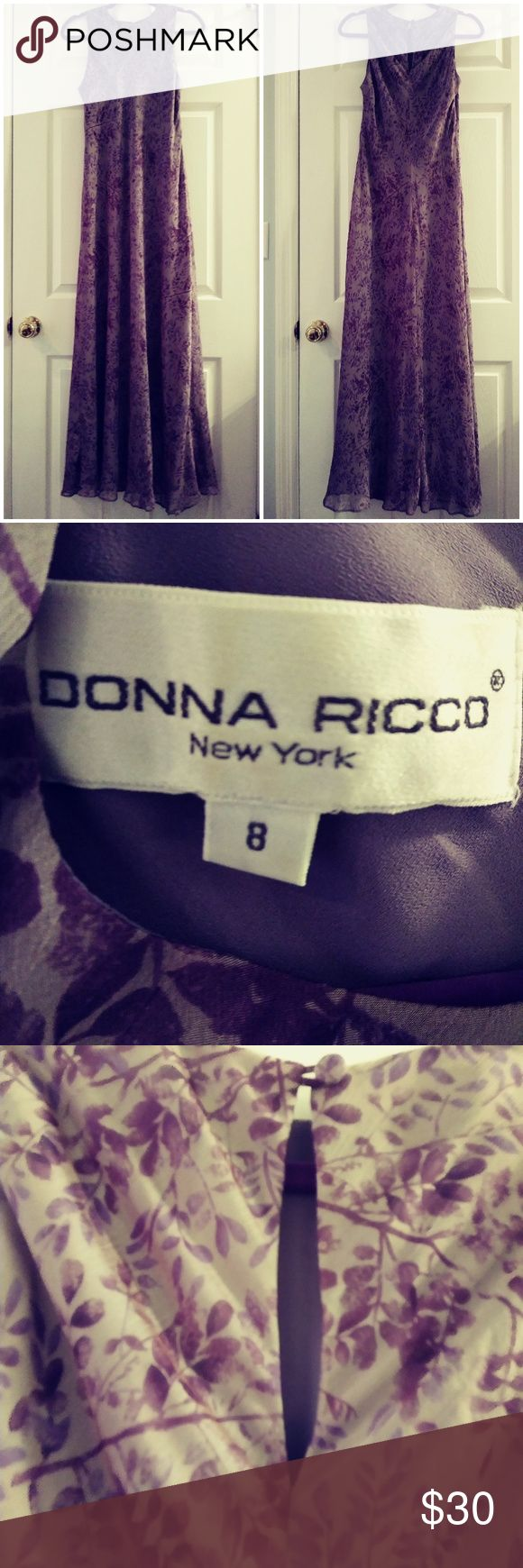 Vintage Donna Ricco Size 8 Floral Lined Dress Great purple floral print neutral sheer dress with gray slip that is attached underneath.  Print has an ombre type effect.  Great closet staple that can be dressed up or down depending on jacket and shoes! A classic that is figure flattering. Excellent condition. Freshly laundered and/or steam cleaned. Smoke-free home. Same or next day shipping (depending on time/day ordered). Donna Ricco Dresses