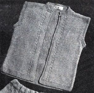 Bolero with Drawn Cables knit pattern from Boys and Girls, originally published by Fashions in Wool, Volume No. 53, in 1946.