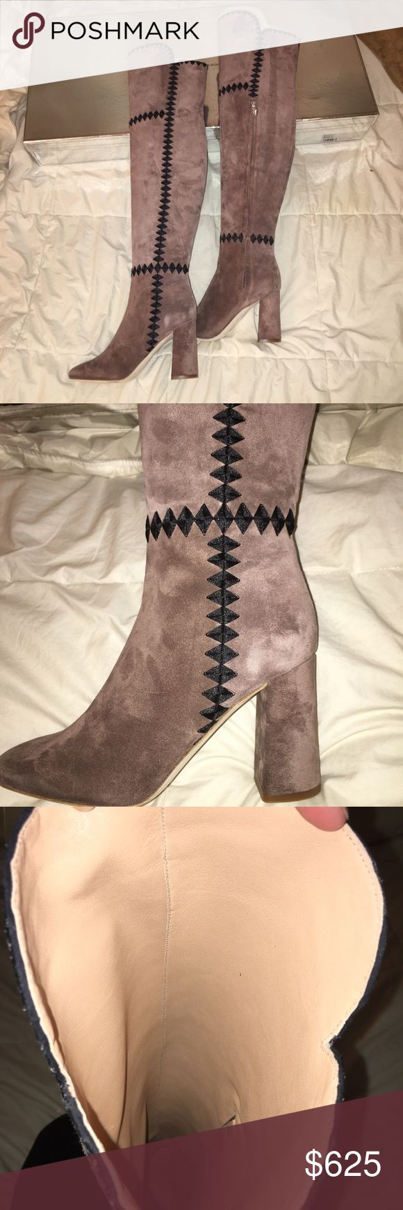 SOLD OUT Free People thigh high suede boots Thigh high tan/grey suede thigh high boots, sold out online at Free People in this color and originally/ currently retailed for $795. There is a black embroidered cross stitching up sides of seams and tan canvas lining on the interior of the boots. This is a well made heel, unworn and still packaged in original box. #freepeople #sigersonmorrison #urbanoutfitters #flynnskye #chanel #heels MAKE OFFERS Sigerson Morrison Shoes Over the Knee Boots