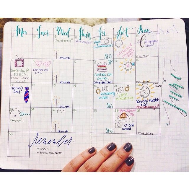 beautiful monthly spread with #handlettering #diyplanner