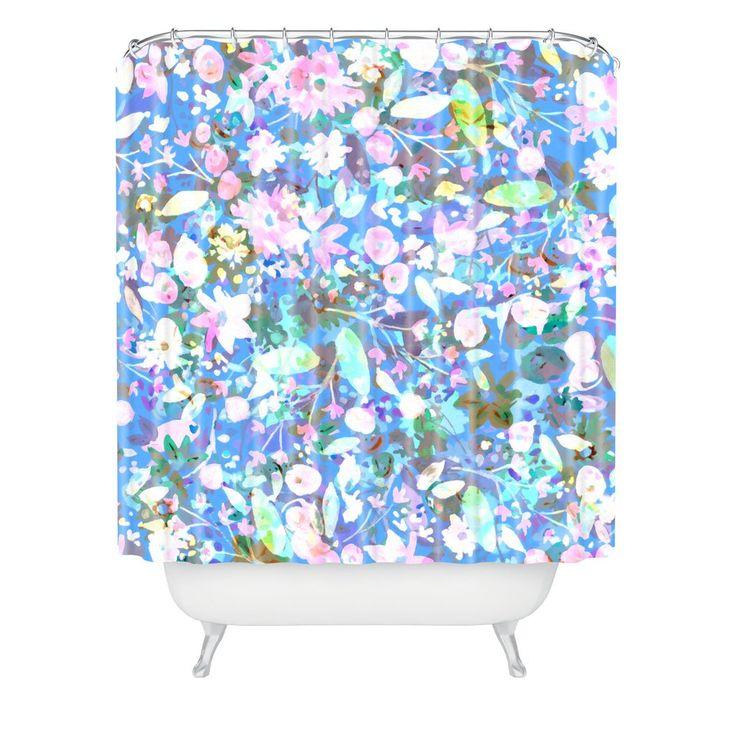 Joy Laforme Bella Flora In Blue Shower Curtain | DENY Designs Home Accessories
