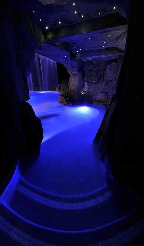 Indoor night cave swimming pool customhomebuildersphoenix incredible swimming pools for Disadvantage of indoor swimming pool