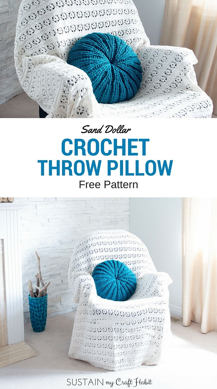 169 best crochet pillow patterns images on pinterest crochet sand dollar crochet pillow cover pattern bankloansurffo Image collections