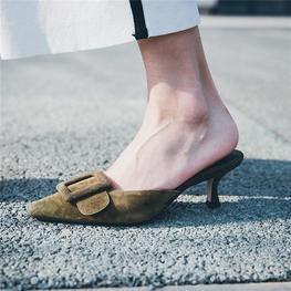 Women Mule Slippers Pointed Toe Slides Low Heels Sandals