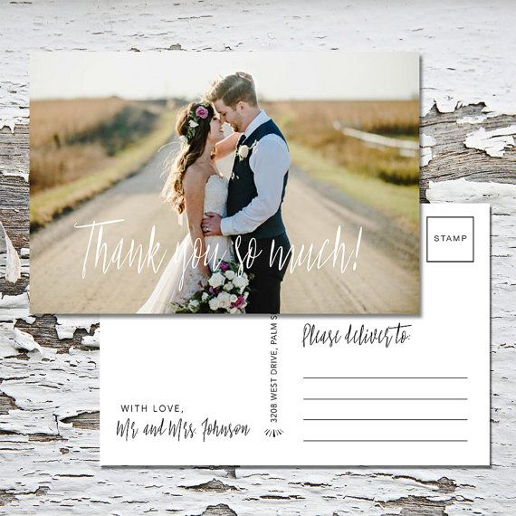 Wedding Thank You Postcard-Thank You Postcard-Mailable-Postcard-Wedding-Thank You-Printed Postcards-Thank You Card-Printable-Photo Card