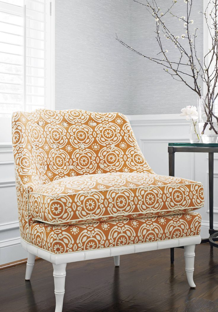 Brentwood Chair From Thibaut Fine Furniture In Soleil Woven Fabric In  Tangerine