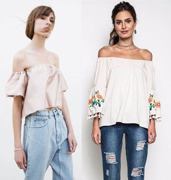 Модные образы для лета 2016: джинсы и топы с открытыми плечами