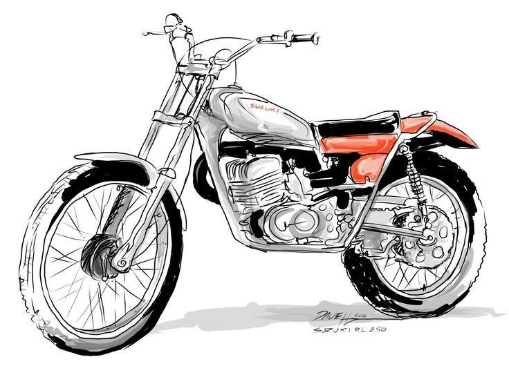 Free hand sketch. Suzuki RL 250. A bike I had in the 1970's
