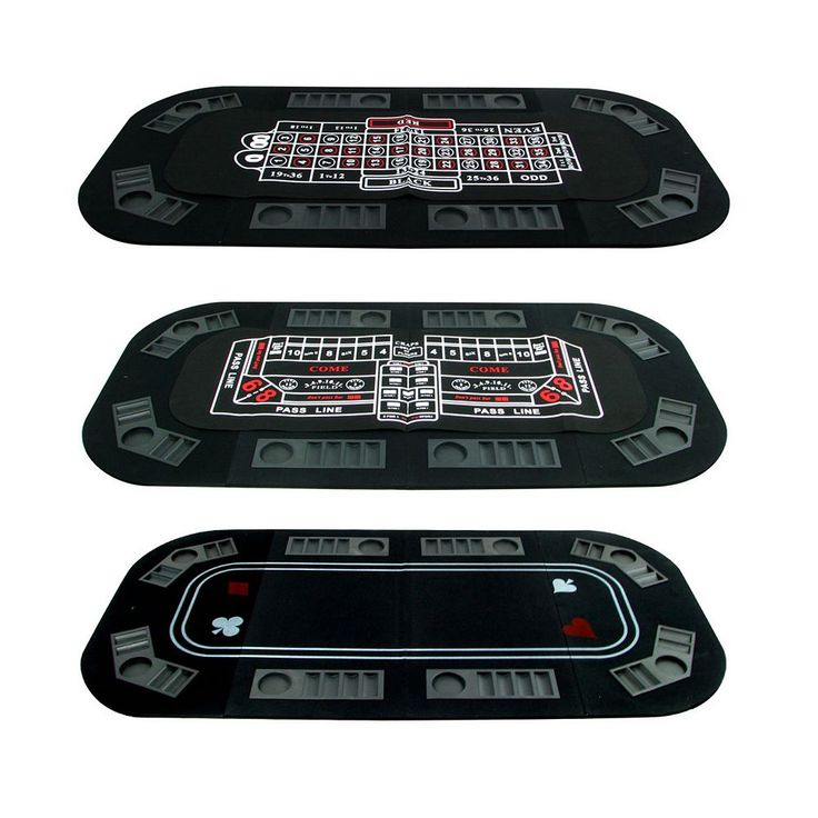 3-in-1 Poker/Craps/Roulette Table Top Game, Black