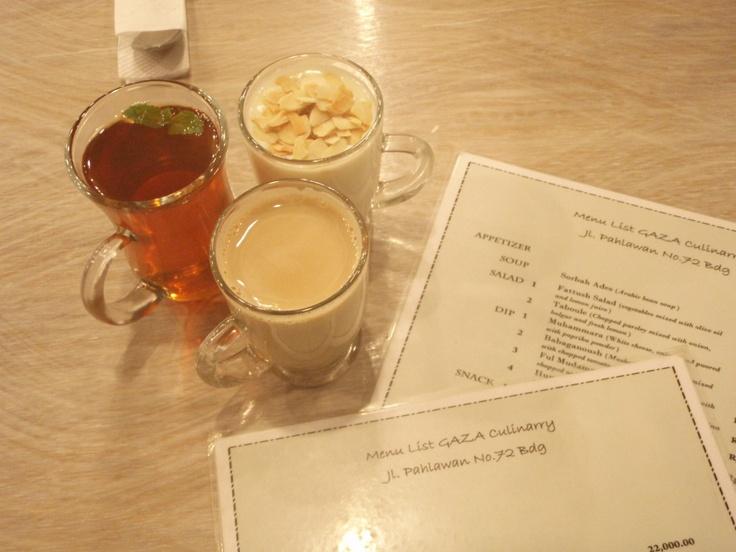 Arabic Almond Drink, Chai Marakesh, and Kahwa Haleeb (spicy coffee)