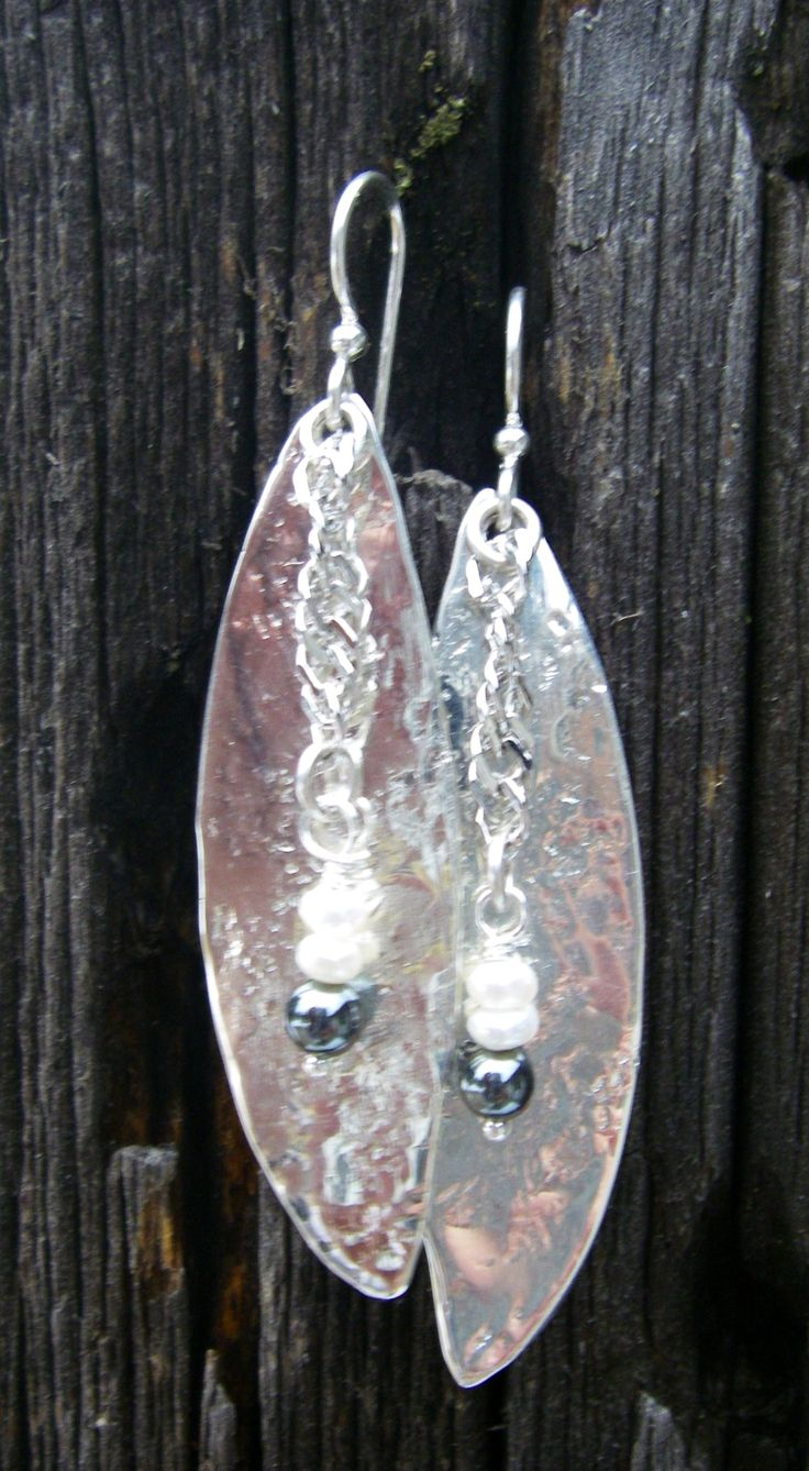 Antique Hammered Spoon Bowl Earrings by R. Wallace Silver  w/Hematite and Seed Pearls...for sale at Health Haven, Deep River, Ont