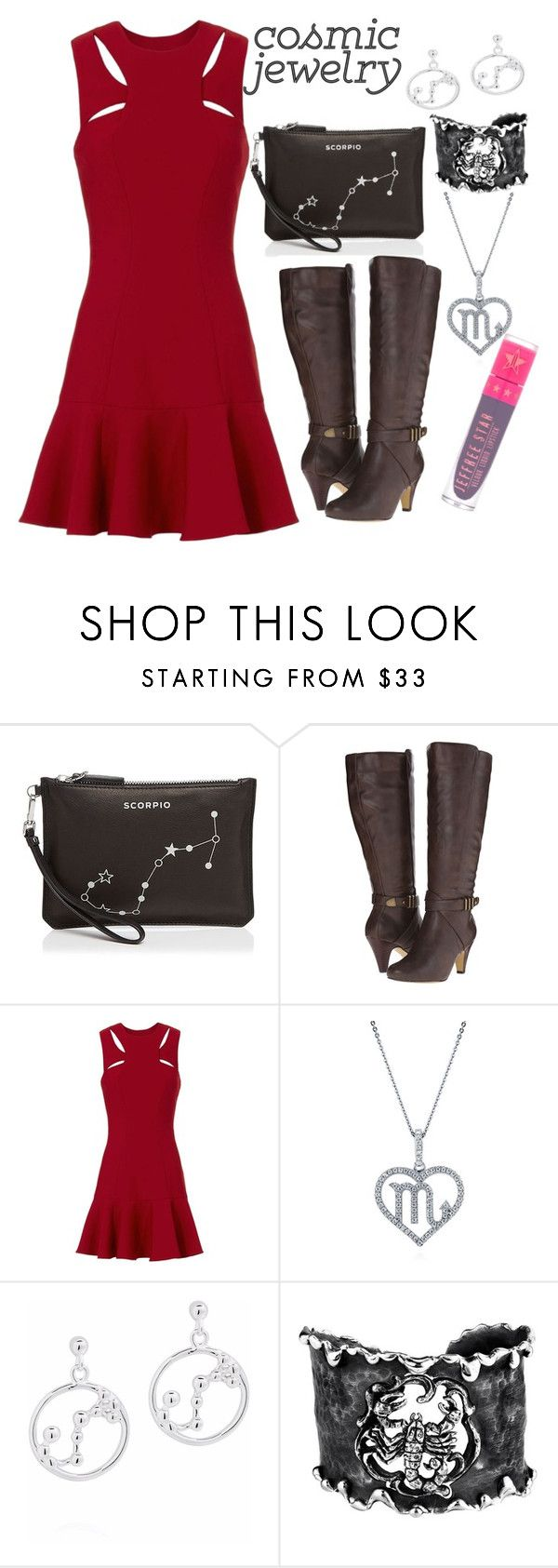 """""""Scorpion"""" by pao-historias-de-closet on Polyvore featuring Etienne Aigner, Bella-Vita, Cinq à Sept, BERRICLE, Michael Barin, Jeffree Star, Boots, dress, woman and cosmicjewelry"""